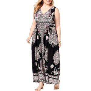 I.N.C. Plus Size Printed Surplice-Neck Maxi Dress